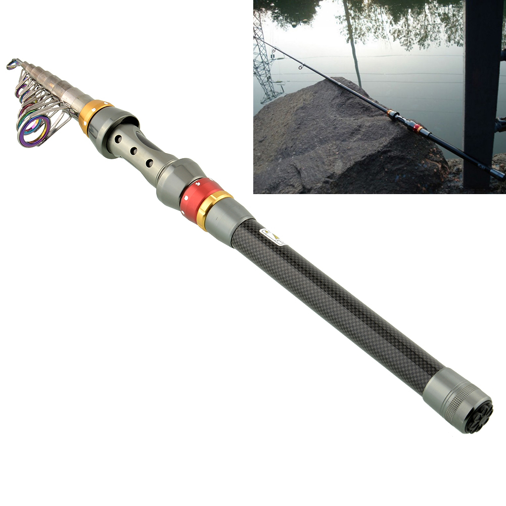 3m portable telescopic fishing rod spinning fish pole for Portable fishing pole