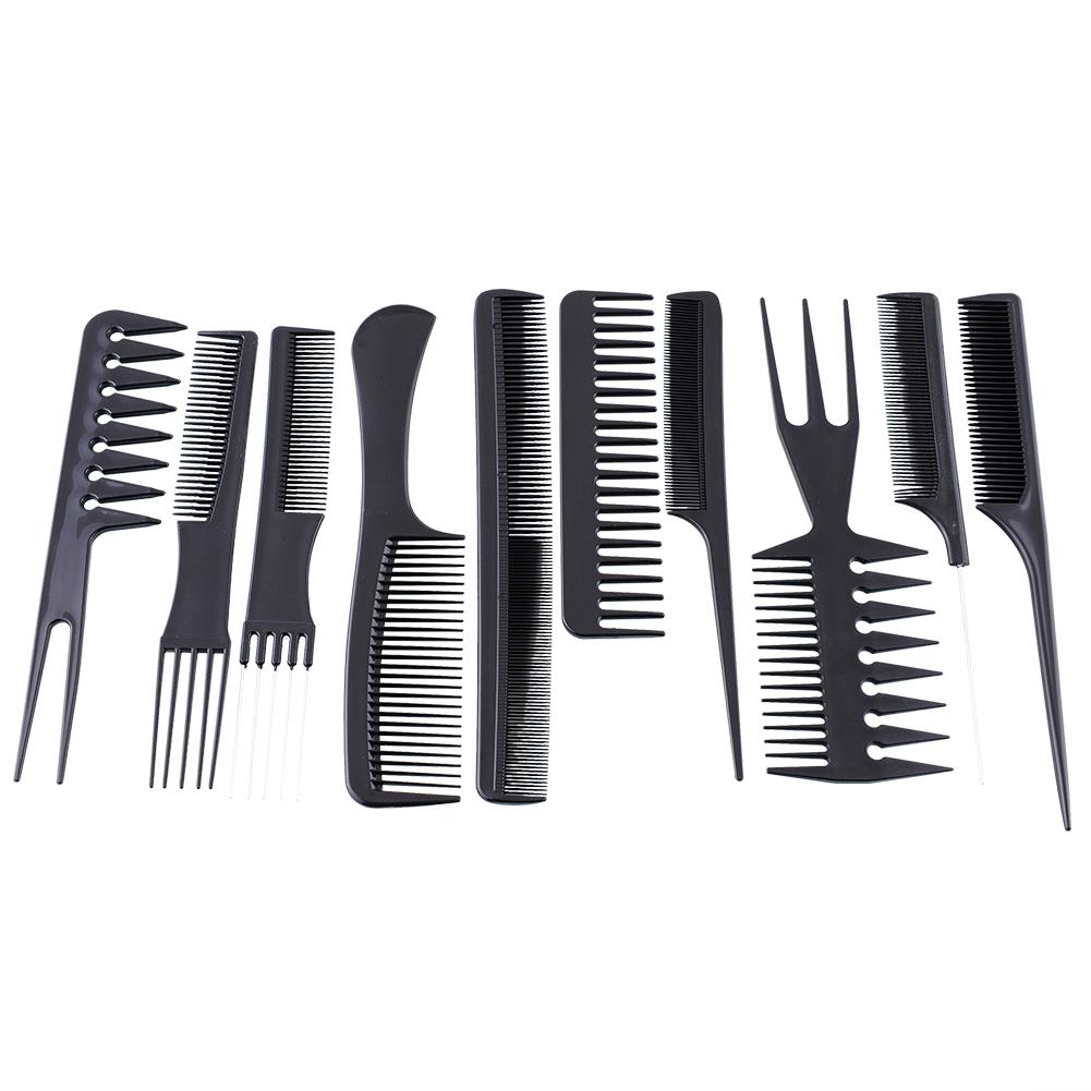 Useful 10pcs Black Hair Styling Hairdressing Plastic Brush