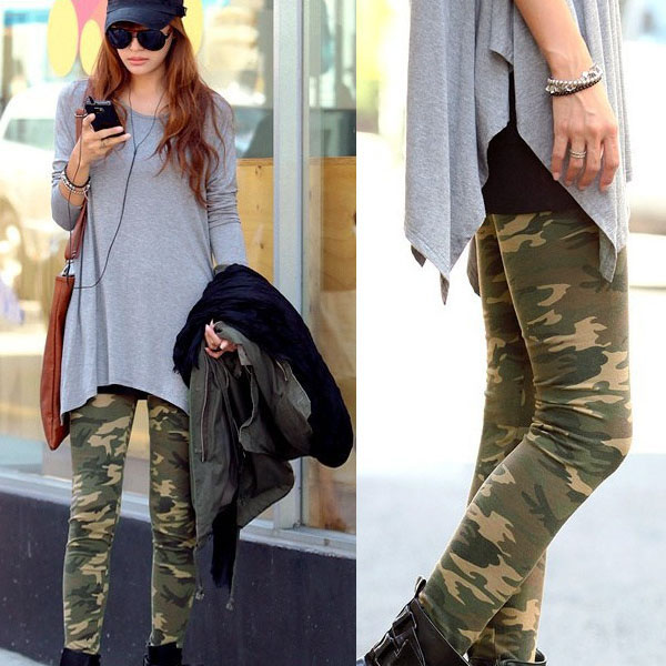 damen tarnfarbe leggings hose army leggins camouflage treggings muster stretch ebay. Black Bedroom Furniture Sets. Home Design Ideas
