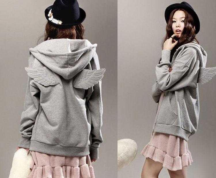 Fashion Cute Womens Girls Angel Wings Hoodie Jacket Hooded Coat Outerwear Tops