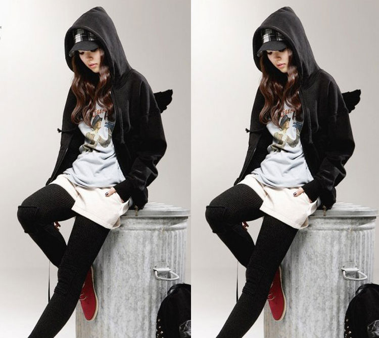 Fashion Womens Girls Angel Wings Hoodie Jacket Hooded Coat Outerwear Tops